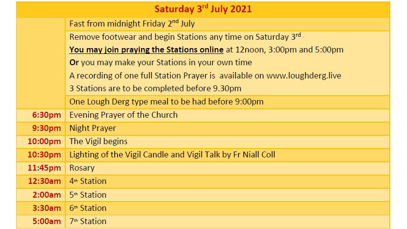 Pilgrimage Programme Saturday 3rd July