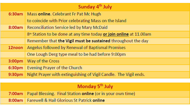 Pilgrimage Programme Sunday 4th & Monday 5th July - Do Lough Derg wherever you are